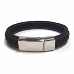 JK Bracelet - Black Leather Braid